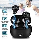 Écouteurs Bluetooth sans Fil, Oreillettes Bluetooth avec Cas de Charge TWS True Wireless Earbuds Mini Ecouteurs Intra Auriculaire Mains-Libres Mic Conduite Running Sport Casque sans Fil (Noir)