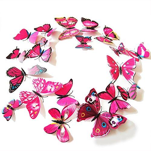 Oblique Unique 3D Schmetterlinge Blumen 12er Set Dekoration Wandtattoo (Alive (pink)) (Schmetterlinge Für Torten)