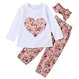 SCFEL Neugeborenes Baby Mädchen Blumen Liebes-Herz-Lange Hülsen Top + Hosen + Stirnband 3 Stück Kleidungs-Satz (12-18 Monate, Rosa)