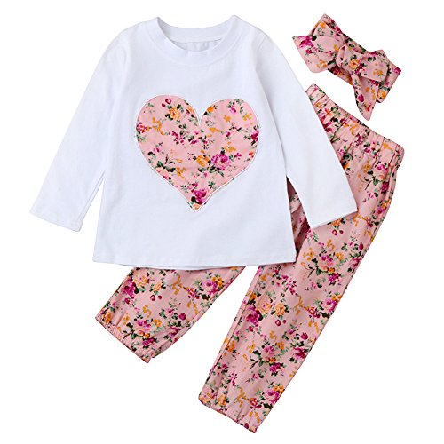 SCFEL Neugeborenes Baby Blumen Liebes-Herz-lange Hülsen Oberteile + Hosen + Stirnband 3 Stück Kleidungs-Satz (18-24 Monate, Rosa) (Herzen Rosa Kleidung)