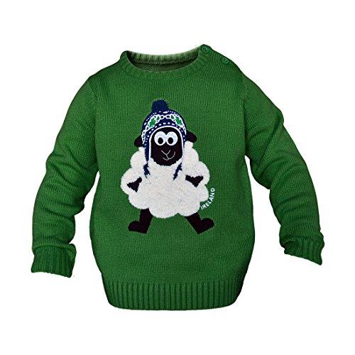 Irland-Rundhalspullover für Kinder mit flauschigem Schaf, smaragdgrün