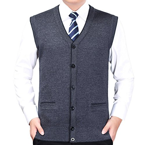 Zhuhaitf weich Mens Mans Gentleman Button Down V-neck Pullover Knitted Vest Gilet Knitwear Jumper Sweater Cardigans for Valentines Birthday Christmas (V-neck Button-down Cardigan)