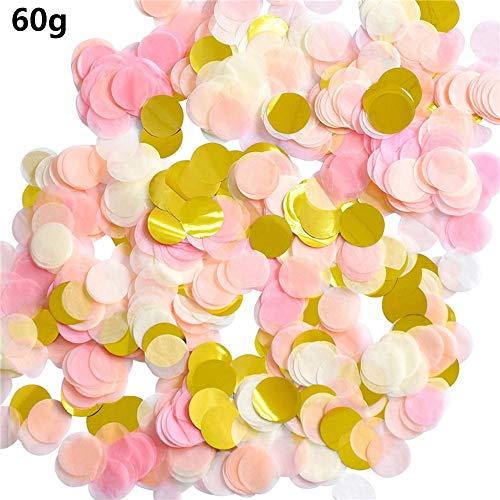 Groß Konfetti Gold Mehrfarbig,60g Pastell Gross 2.5cm Rund Golden Rosa Weiß Seiden-Papier Tabellen Pailletten Metallic Confetti für Tischdeko Geburtstag Taufe Party Hochzeit Baby Dusche Dekoration (Elemente Für Baby-dusche)