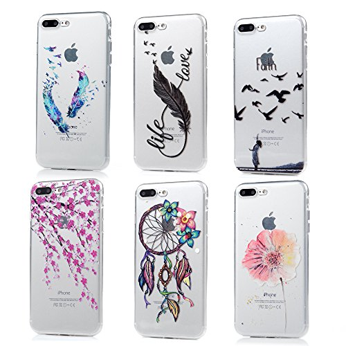 iPhone 7 Plus Schutzhülle (14 cm) - 6 PCS Dämpfung Weiche TPU Gummi-Haut, Bumper Case transparent clear crystal Cute Colorful Print Mustern Ultra Thin Slim Schutzhülle Cover von badalink Thin Crystal