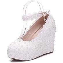 XLY Zapatos de Novia de Encaje Blanco, Hebilla de cinturón con Zapatos de cuña,