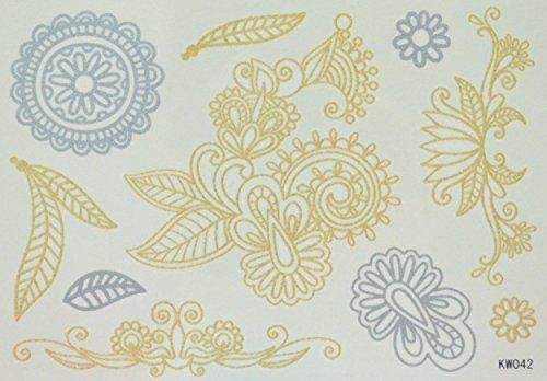 ggsell Totem di prova dell' Est e del moyen-indienne d' oro e di paillettes di argento Tatuaggi Temporanei - Oro Prova