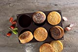 Lurch 85081 FlexiForm Burger Buns Silikonbackform für 10 cm Pattys, 6-Fach, Silikon, Braun, 3 x 33 x 25 cm
