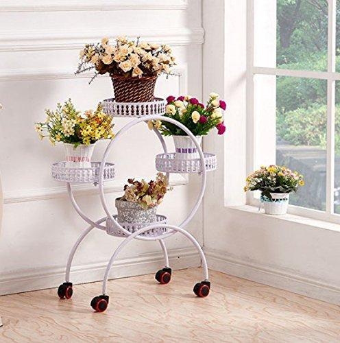 MOMO Flower Racks Iron Flower Racks Amovible coulissante fleur voyante avec rond-debout Pot-Racks le salon balcon fleur Racks,blanc