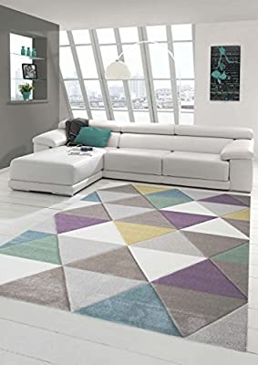 Design rug Contemporary rug Living room rug Short straight pile Carpet with contours Triangle pattern with pastel colors Colorful Turquoise Purple Mustard Yellow Green Cream Beige - low-cost UK light shop.