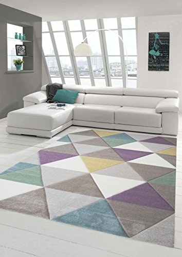 Design rug Contemporary rug Living room rug Short straight pile Carpet with contours Triangle pattern with pastel colors Colorful Turquoise Purple Mustard Yellow Green Cream Beige size 80x150 cm