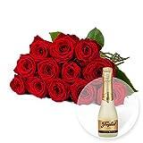 12 rote Rosen und Freixenet Semi Seco