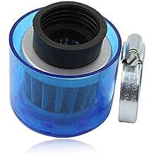 Filtro de aire 38mm de alto rendimiento para 90cc, 110cc, 125cc, 200cc con cubierta de plástico translúcida color azul, para vespa, cuatrimoto, moto de cross, pit bike