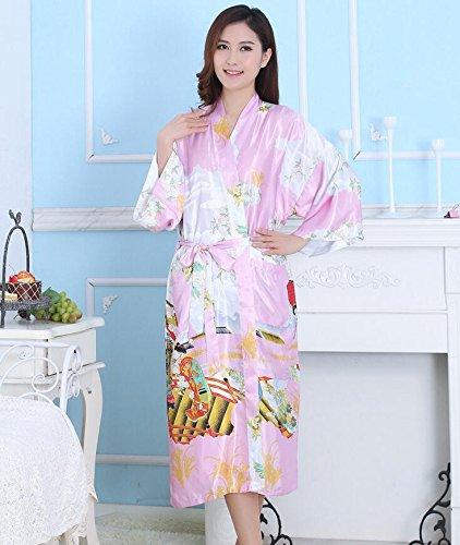 LJ&L Silk Dame atmungsaktive Nachthemd Komfort offene Robe Home Service Qualität Seide Bademäntel,red,S Pink
