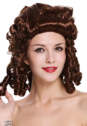 33 Perücke Damen Karneval Fasching Barock Locken Königin Marie Antoinette Adlige Südstaaten Renaissance Mahagoni Braun ()