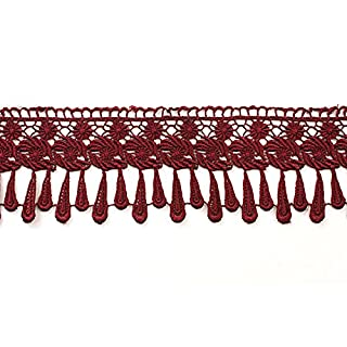 Altotux 3.25 14 Colors Embroidered Venice Lace Trim Guipure Embellishment Teardrop Fringe Trimming By Yard (Burgundy) by Altotux