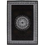 Lalee 347247615 - Alfombra, diseño con ribetes de moqueta y círculo con hilo lurex, aspecto 3D, color negro/plata, acrílico, negro, 120 x 170 cm