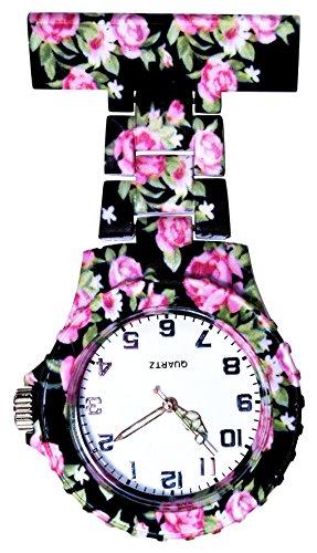 Ellemka JCM-2102 - Schwesternuhr Clip zum Anstecken FOB Kittel Krankenschwester Pflege-r Quarz Puls-Uhr Taschen Hänge-Band Ansteck-Nadel Neon Fashion Trend Design Art Pattern - Roses in Black