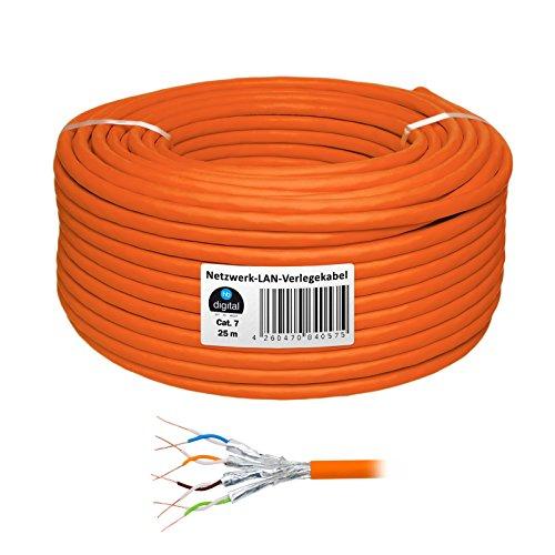 HB Digital Netzwerkkabel LAN Verlegekabel cabel 25m cat 7 Kupfer PROFI S/FTP PIMF LSZH Halogenfrei orange RoHS-compliant cat. 7 Cat7 AWG 23/1 (Voip Voice-modem)