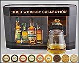 Cooley Set 4 Irischer Whiskey Miniaturen mit 9 DreiMeister Edel Schokoladen & Spey Dram Glas, kostenloser Versand