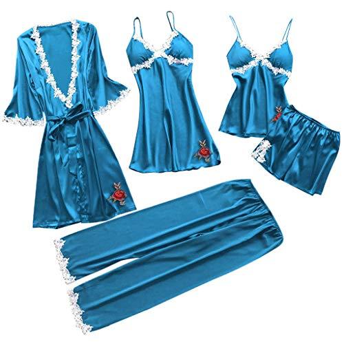 Schlaf Lounge Tops Bottoms Sets, QinMM Damen Nachtwäsche Sexy Lace Trim Satin 5 Stück Robe + Nachthemd + Leibchen Shorts Pyjama Set + Lange Hosen -