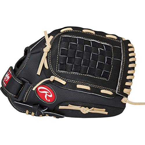 RAWLINGS PM105BCB Baseballhandschuh für Linkshänder, 10,5 Inch, Schwarz