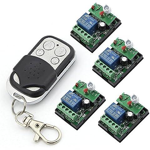 RF trasmettitore 6 V un canale Relays 4 x 1-Telecomando per controllo remoto porta Garage e cancello, apribottiglie, apriscatole
