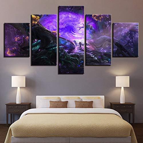 xzfddn Modulare Leinwand Bilder Home Decor HD Prints Spiel Poster 5 Stücke Lesen Das Buch In Der Magischen Wald Gemälde Wandkunst (Magischen In Den Halloween Wald)