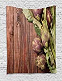 daawqee Artichoke Tapestry Freshly Picked Vegetables Healthy Vegan Option Going Green for Living Room Bedroom Dorm 60 W X 80 L Inches Unique Home Decor