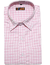 Twist Mens Formal Regular Fit Shirt/Half Sleeve Cotton Shirts/Checkered Dress Shirts, White With Pink,