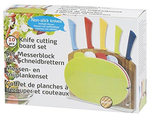 Set coltelli professionali + taglieri antiscivolo + supporto in bamboo - 10 pezzi - forma ovale