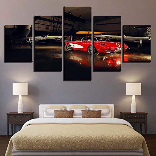XIXISA Pittura Artistica da Parete con Stampa HD, Poster modulare Moderno su Tela a 5 Pannelli, Auto Sportive Rosse, Decorazione per la casa, Senza Co