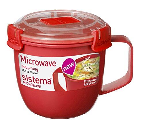 Sistema SI1142 Micro-ondes Tasse à soupe Plastique Rouge 11 x 13,4 x 10,7 cm 565 ml