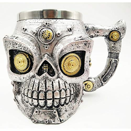 r, Edelstahl-Schädel-Gesichts-Bier-Schalen-trinkende Schalen-schwere Unterseite lustige Unterhaltungs-Glaswaren-Halloween-Dekoration ()