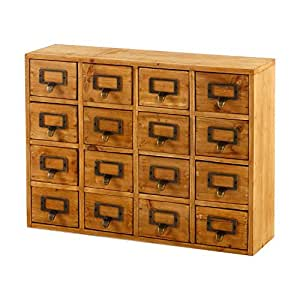 Wooden Storage Filing 16 Drawers Shabby Industrial Greenhouse Seeds Spices by QEYKO