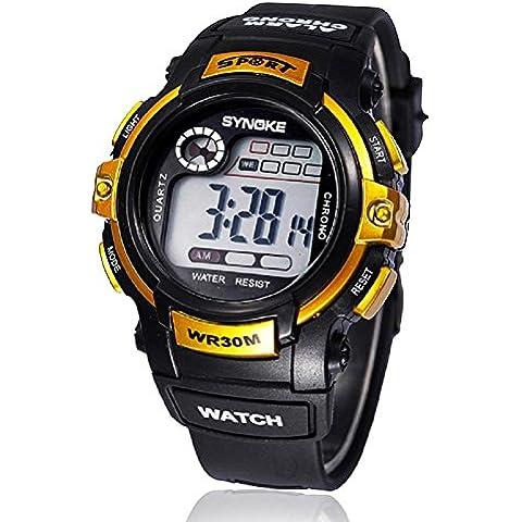 FEITONG ragazzo multifunzione al quarzo digitale led allarme data sport impermeabile da polso watch/42.72mm*15.36mm (Oro)