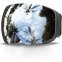 eDriveTech-Gafas de Esquí, Anti Niebla OTG Gafas de Esquiar para Mujer Hombre Juventud Chicos Chicas Protección UV Actualización Magnéticos Intercambiables Doble Capa Esférica Lentes Máscara Snowboard