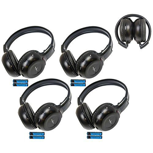 Four Pack of Two Channel Folding Adjustable Universal Rear Entertainment System Infrared Headphones With Four Additional 48 3.5mm Auxiliary Cords Wireless IR DVD Player Head Phones for in Car TV Video Audio Listening With Superior Sound Quality