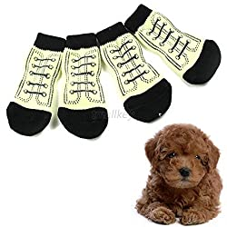 Yellow, XL : Hot Sales Cheap High Quality Fashion Pet Dog Shoes Indoor Cotton Anti-slip Knit Weave Sock Skid Bottom Warm Socks