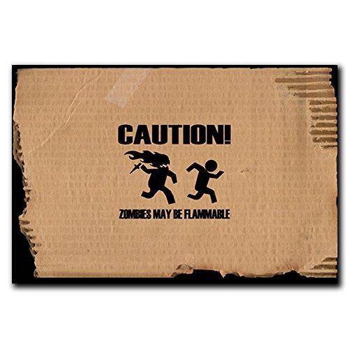 ACHTUNG Zombies können werden flammnable rutschfeste Badezimmer Wohnzimmer Küche Bereich Teppiche Fußmatten Fußmatte für Innenbereich/Außenbereich 59,9cm (L) X 39