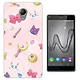 003246 - Girly pink cute cats moon kawaii Design Wiko Robby