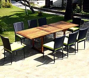 Mobili da giardino, Flores 8 sedie in resina intrecciata con cuscini