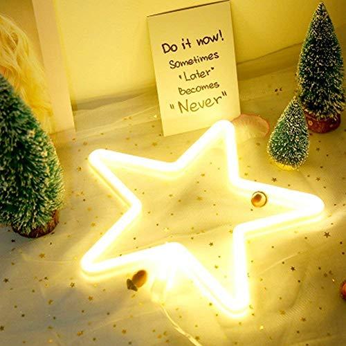 Forma de Estrella LED Luz de neón Arte Decoración de Pared Decorativa Operado por USB/Batería con Blanco Cálido para Niños Habitación de Bebé Decoración de Banquete de Boda de Navidad