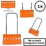 1x BBT@ Schneeschieber auf Rollen Orange / Extra breite 80 cm für große Flächen / Leichtgängig durch integrierte Rollen und Alu-Schiebestange