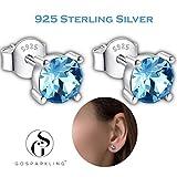 Swarovski Ohrstecker- Aquamarin Blau Kristall- 925 Sterling Silber- Durchbrochene Ohrringe für Frauen- 100% Swarovski Kristall von GoSparkling Allergiefrei bestanden SGS Inspektion