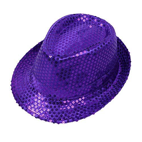 Fablcrew. Paillettenhut, Jazzhut, für Kinder, Maskerade, Weihnachten, Ball, Kostüm, Festival Gr. 54 cm, Dunkles violett (Dunkle Maskerade Kostüm)