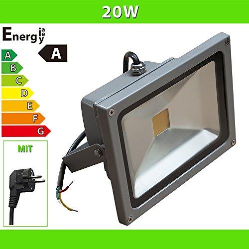 LED Flutlicht 20 W Fluter mit Netzstecker Strahler Baustrahler, silber / kaltweiß LF28