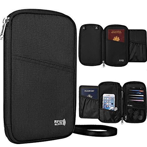 KEAFOLS Reisepass Tasche Familie Reisepasshülle mit RFID Schutz Reiseorganizer Ausweistasche Reisebrieftasche mit Reißverschluss für Passport, Kreditkarten, Flugkarten, Münzen und Reise Zubehör MEHRWE -