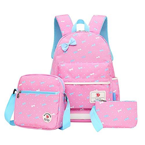 Bcony Set von 3 Leichte nette Fliege Schultaschen/Rucks?cke /Schulrucks?cke /Kinderbuch Taschen M?dchen Teenager + mini Handtaschen-Geldbeutel + crossbody Tasche,Rosa (Bow Handtasche Rosa)
