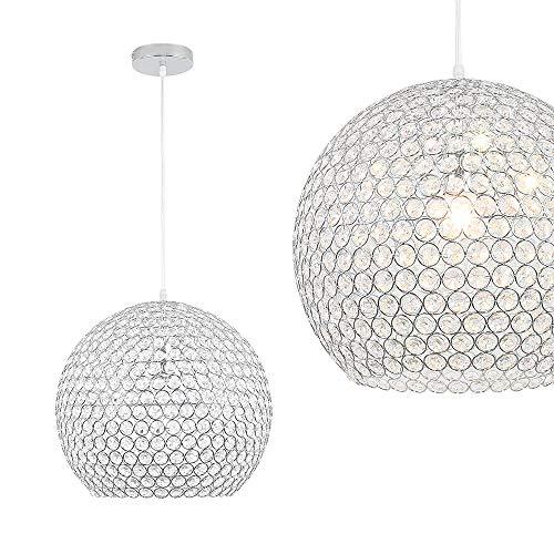 LeMeiZhiJia Moderne Kugel Kristall Pendelleuchte - Rund Deckenleuchte Edelstahl Kronleuchter Ø 40cm mit E27 Sockel - für Wohnzimmer Schlafzimmer, ohne Leuchtmittel