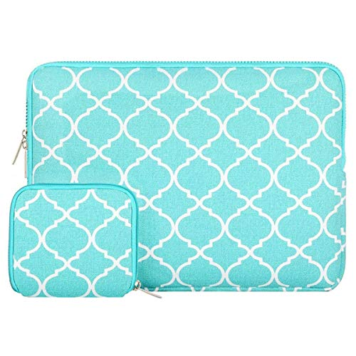 MOSISO Tasche Sleeve Hülle Kompatibel 13-13,3 Zoll MacBook Pro, MacBook Air, Notebook Computer Canvas Geometrisches Muster Laptophülle Laptoptasche mit Klein Fall, Heiß Blau Vierpass (Fleece-stoff Quatrefoil)